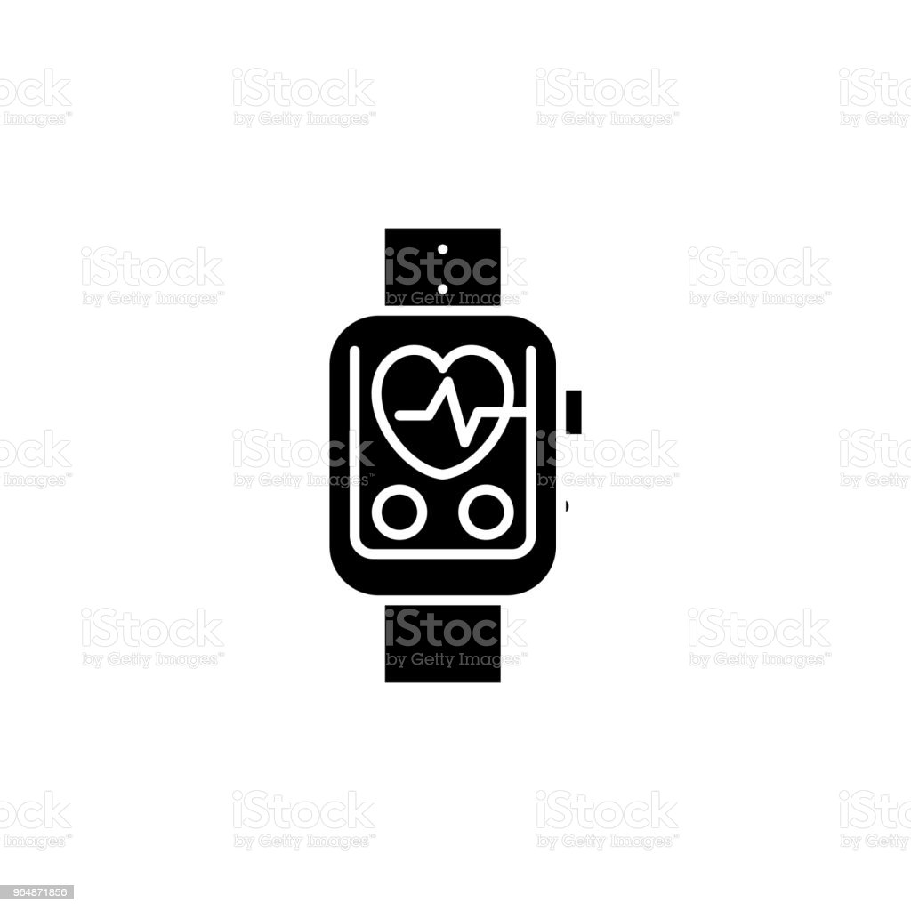 Pulsometer black icon concept. Pulsometer flat  vector symbol, sign, illustration. royalty-free pulsometer black icon concept pulsometer flat vector symbol sign illustration stock vector art & more images of artery