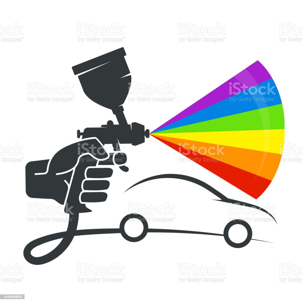Pulverizer in the hand of car coloring vector art illustration