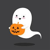 Pumkin and kawaii flying ghost. Happy Halloween. Cute cartoon spooky character. Vector illustration