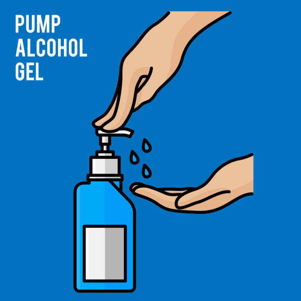 Pump alcohol gel Hand sanitizer Alcohol-based hand rub. Rubbing alcohol. Wall mounted soap dispenser. Wall hanging hand wash container. Protection from germs such as coronavirus (Covid-19) icon design Pump alcohol gel Hand sanitizer Alcohol-based hand rub. Rubbing alcohol. Wall mounted soap dispenser. Wall hanging hand wash container. Protection from germs such as coronavirus (Covid-19) icon design rubbing alcohol stock illustrations