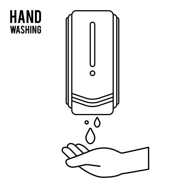 ilustraciones, imágenes clip art, dibujos animados e iconos de stock de bomba lavado a mano. desinfectante de manos. frotar la mano a base de alcohol. alcohol. dispensador de jabón montado en la pared. contenedor de lavado de manos colgante en la pared. protección contra gérmenes como el diseño de iconos de coronavirus (co - hand sanitizer