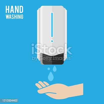 istock Pump Hand wash. Hand sanitizer. Alcohol-based hand rub. Rubbing alcohol. Wall mounted soap dispenser. Wall hanging hand wash container. Protection from germs such as coronavirus (Covid-19) icon design 1212004402