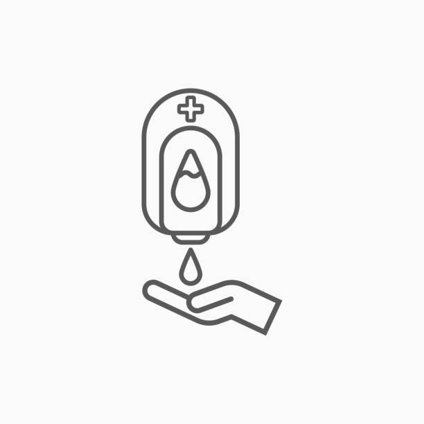 illustrazioni stock, clip art, cartoni animati e icone di tendenza di icona lavaggio a mano pompa, vettore macchina alcolica, illustrazione disinfettante per le mani - gel per capelli
