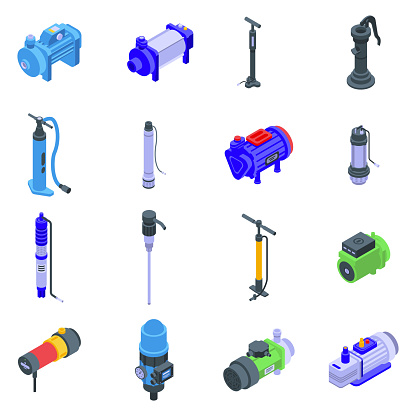 Pump icons set, isometric style
