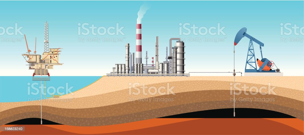 Pump Jack, Drilling Rig and Refinery vector art illustration