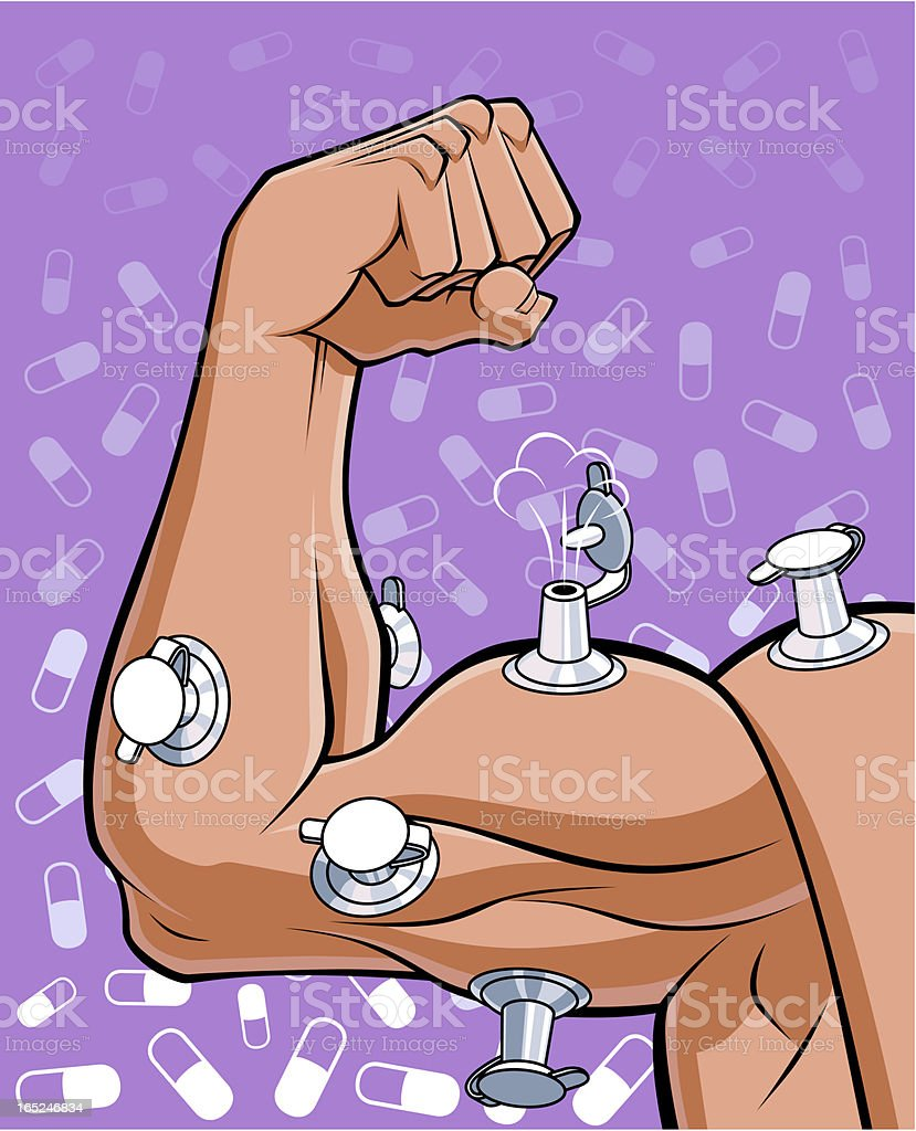 Pumped muscles of a disloyal athlete royalty-free stock vector art