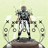 Football player so pumped up with game time adrenalin, his shoulder pads explode.
