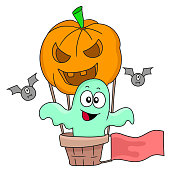 pumpkin air balloon halloween. cartoon illustration sticker