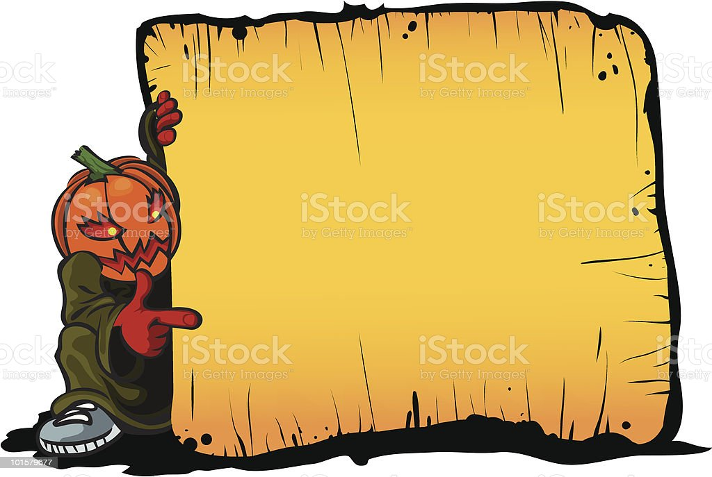 pumpkin and old frame royalty-free stock vector art