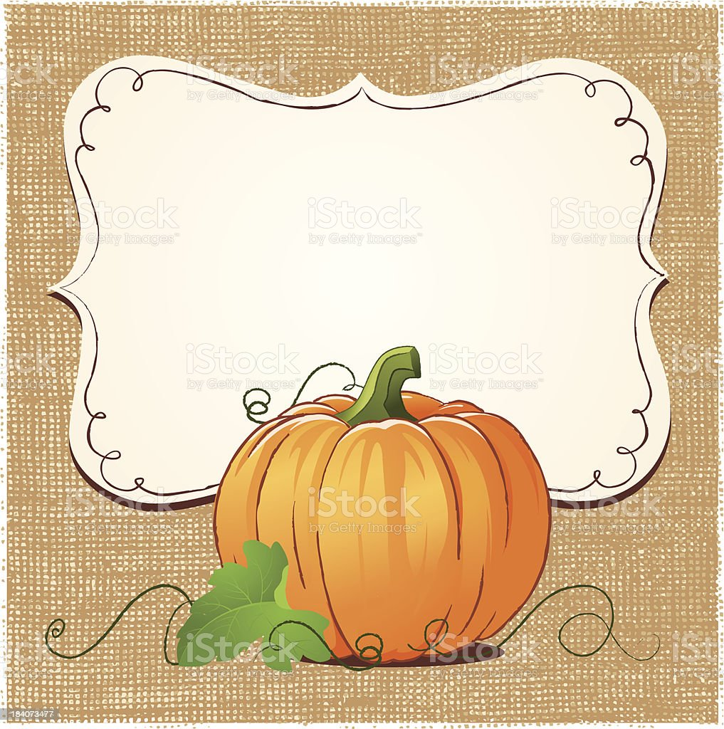 Pumpkin and sign with burlap texture background royalty-free stock vector art