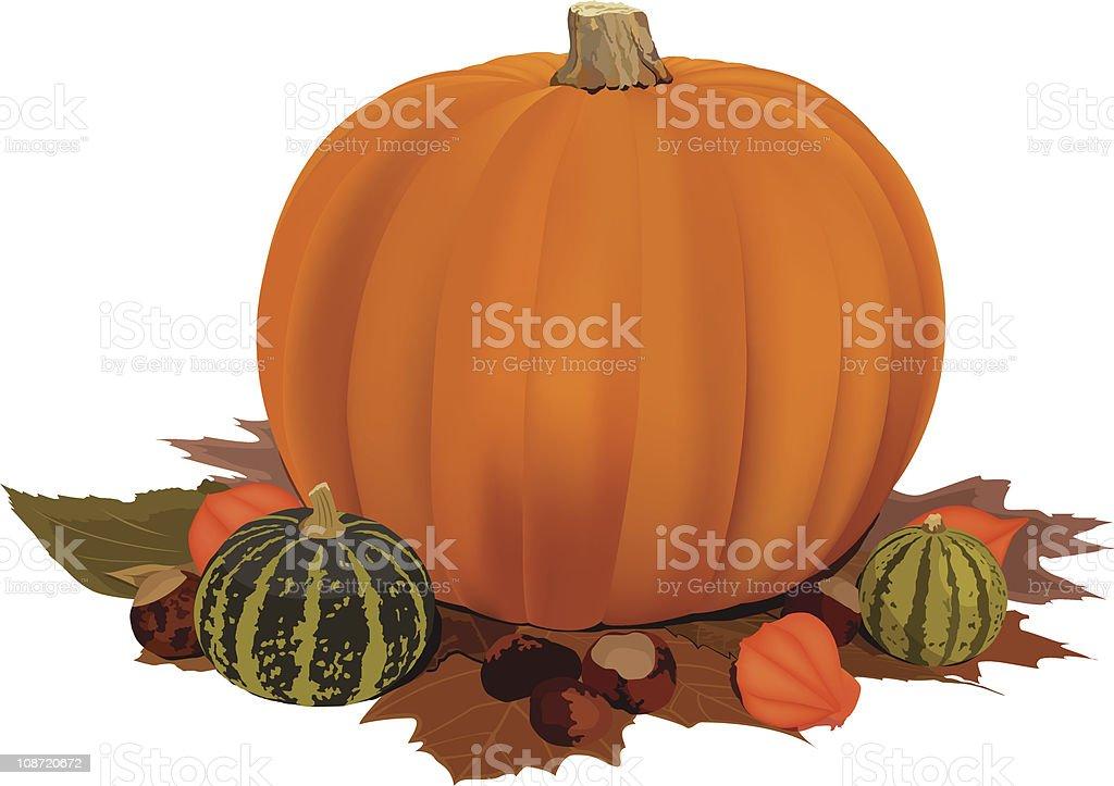 Pumpkin Autumn Scene Orange royalty-free stock vector art