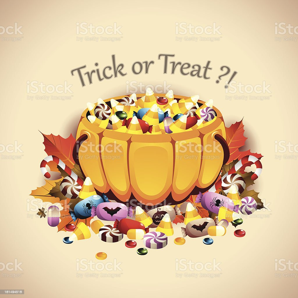 Pumpkin Basket full of Candies vector art illustration