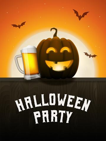 Pumpkin beer halloween party poster.