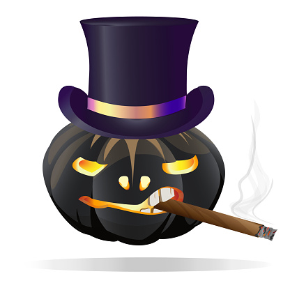 Pumpkin black for Halloween in a respectable top hat Smoking a cigar. Isolated on white background. Vector illustration.