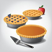 Pumpkin, blueberry and apple pie.