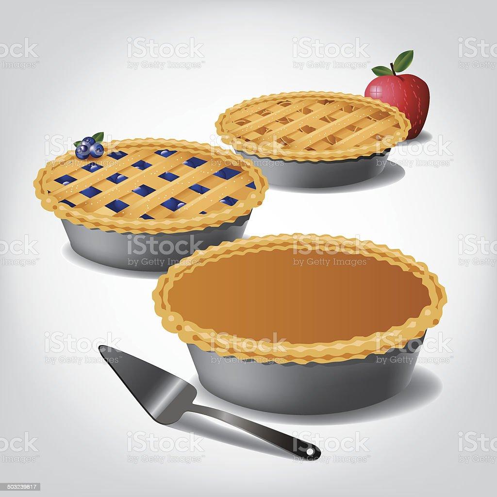 Pumpkin, blueberry and apple pie. vector art illustration