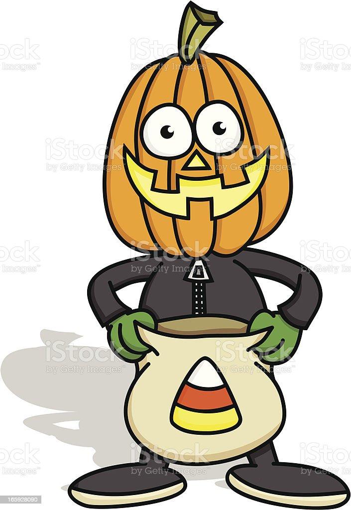 Pumpkin Boy Trick or Treating royalty-free stock vector art