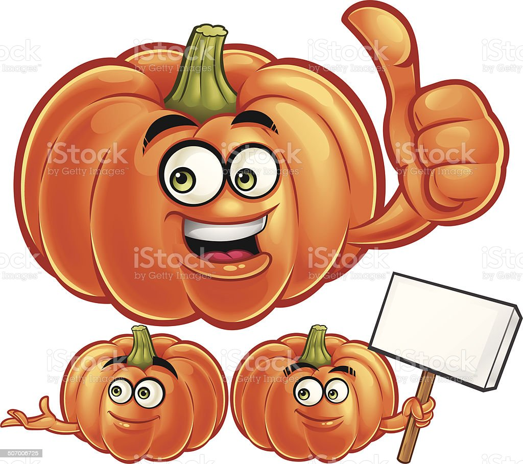 Pumpkin Cartoon Set C royalty-free stock vector art
