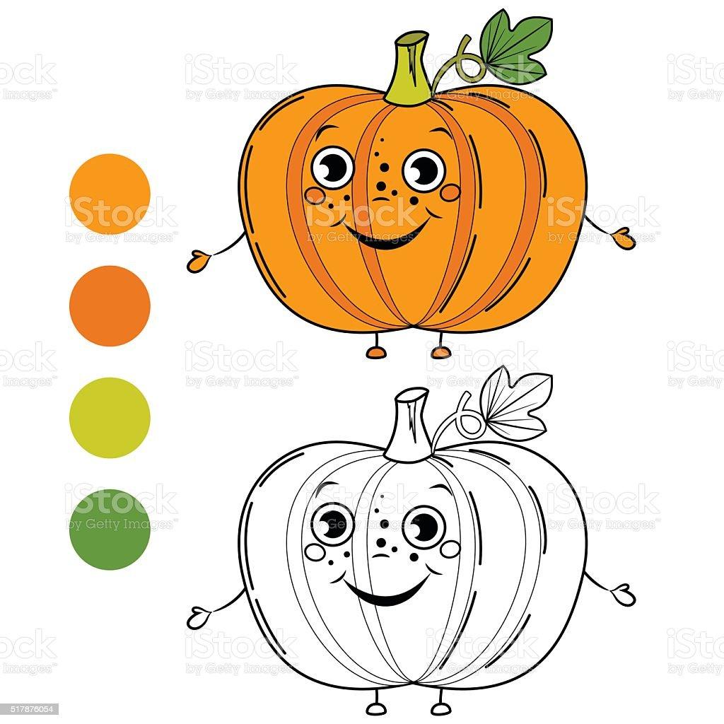 Calabaza Libro Para Colorear Página Ilustración De Vectores De ...
