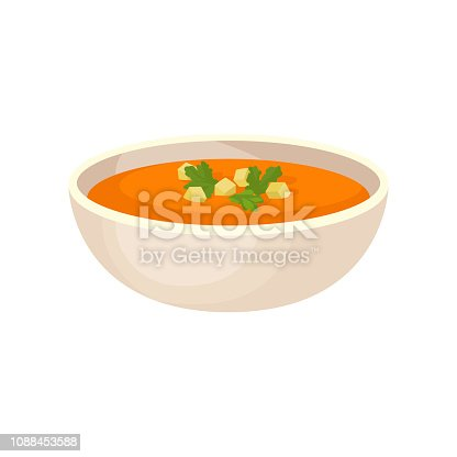 Pumpkin cream soup with cream in a bowl, traditional Thanksgiving food vector Illustration isolated on a white background.