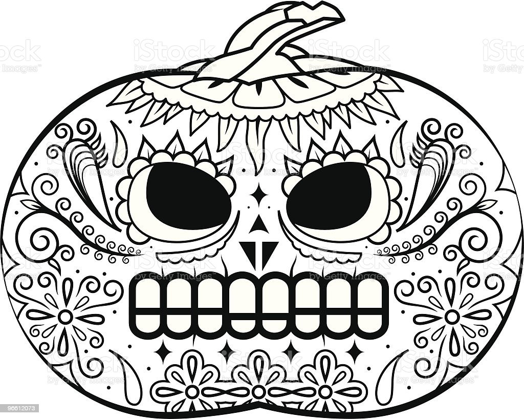 Pumpkin death mask black and white - Royalty-free Black And White stock vector
