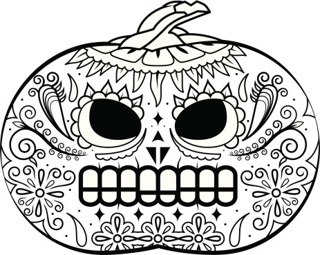 De Abóbora Máscara Preta E Branca - Arte vetorial de stock e mais imagens de Abóbora-Menina - Cucúrbita