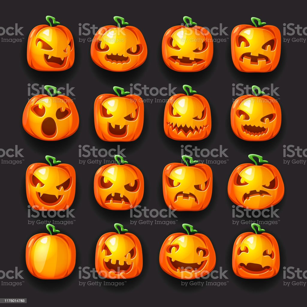 Pumpkin Emoji Halloween Jack O Lantern Scary Faces Smile Icons Set Isolated 3d Cartoon Decoration Design Vector Illustration Stock Illustration Download Image Now Istock