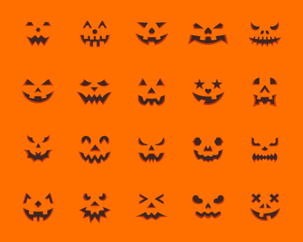 Pumpkin Face simple flat color icons vector set Pumpkin Face flat icons set. Web sign kit jack-o-lantern. Halloween Design pictogram collection animation kit, emotion create. Simple pumpkin face cartoon icon symbol isolated. Vector Illustration ghost icon stock illustrations