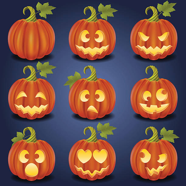 Royalty Free Ugly Pumpkin Faces Clip Art Vector Images