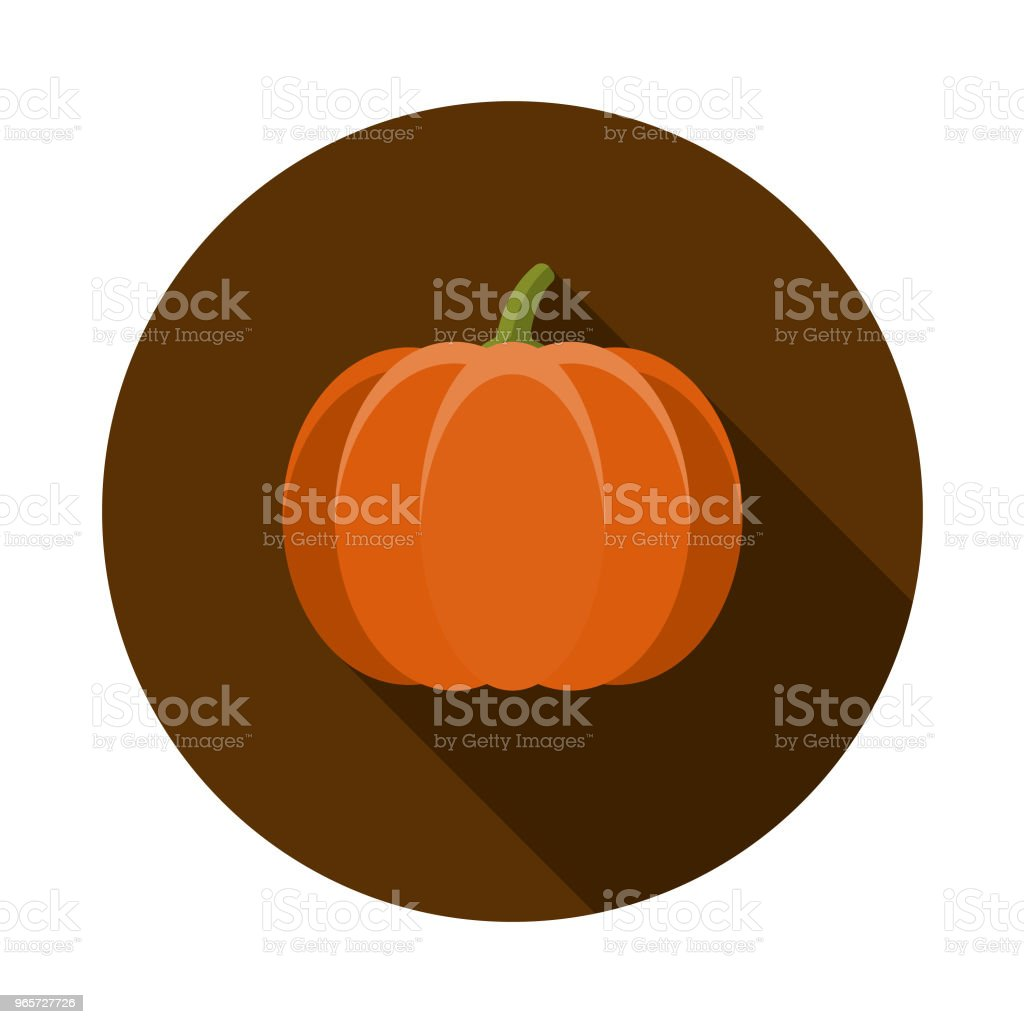 Pumpkin Flat Design Autumn Icon with Side Shadow - Royalty-free Autumn stock vector