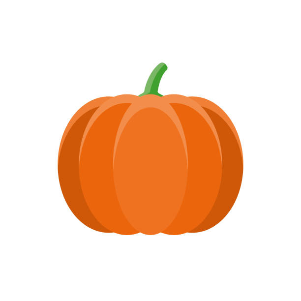 Pumpkin Flat Design Vegetable Icon A flat design styled vegetable icon with a long side shadow. Color swatches are global so it's easy to edit and change the colors. File is built in the CMYK color space for optimal printing. pumpkin stock illustrations