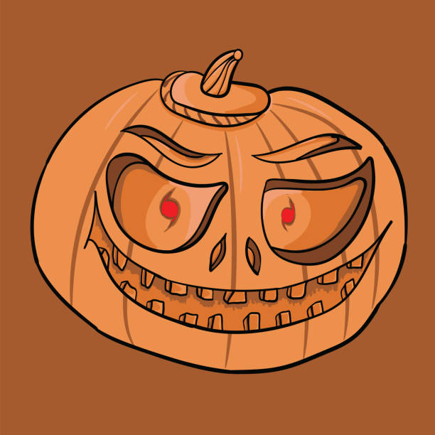 Royalty Free Drawing Of Ugly Pumpkin Faces Clip Art Vector Images