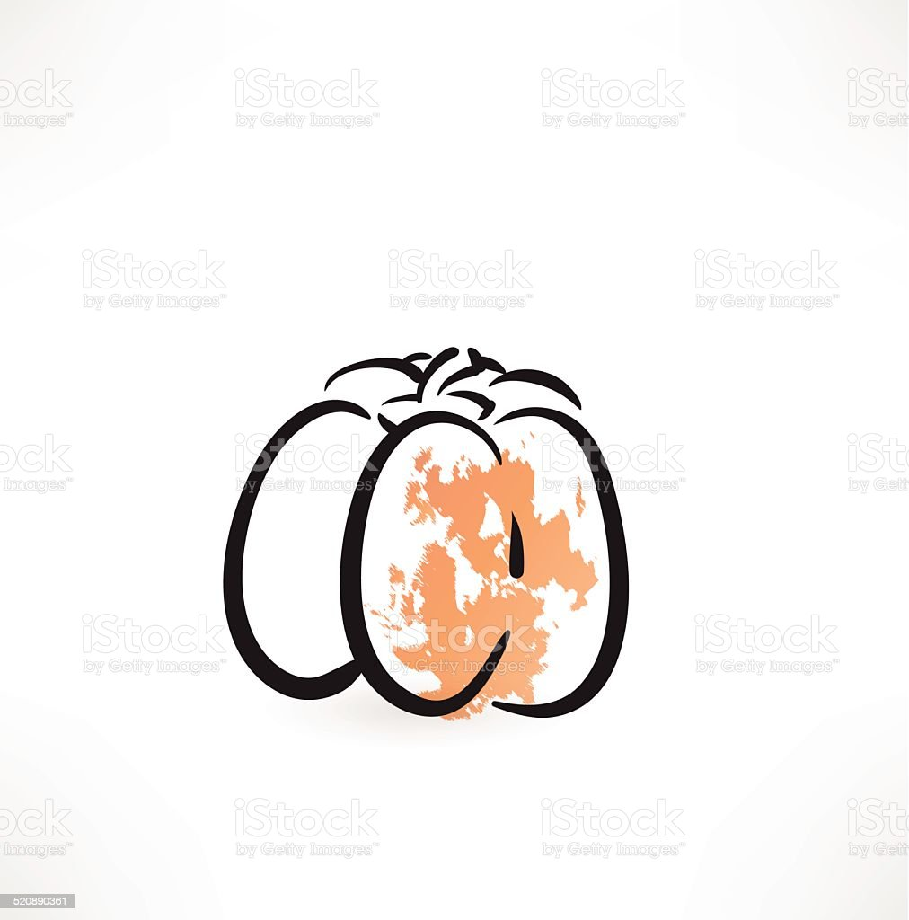 pumpkin grunge icon vector art illustration