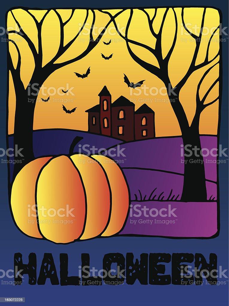 Pumpkin Halloween Night - Illustration royalty-free stock vector art