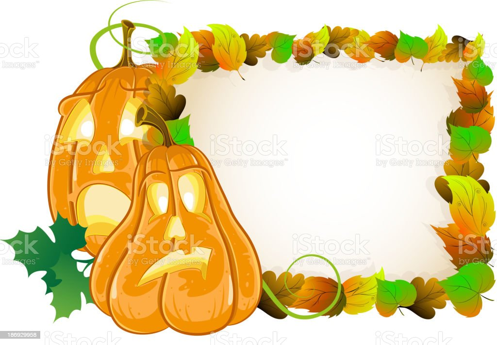 Pumpkin head and  leaves royalty-free stock vector art