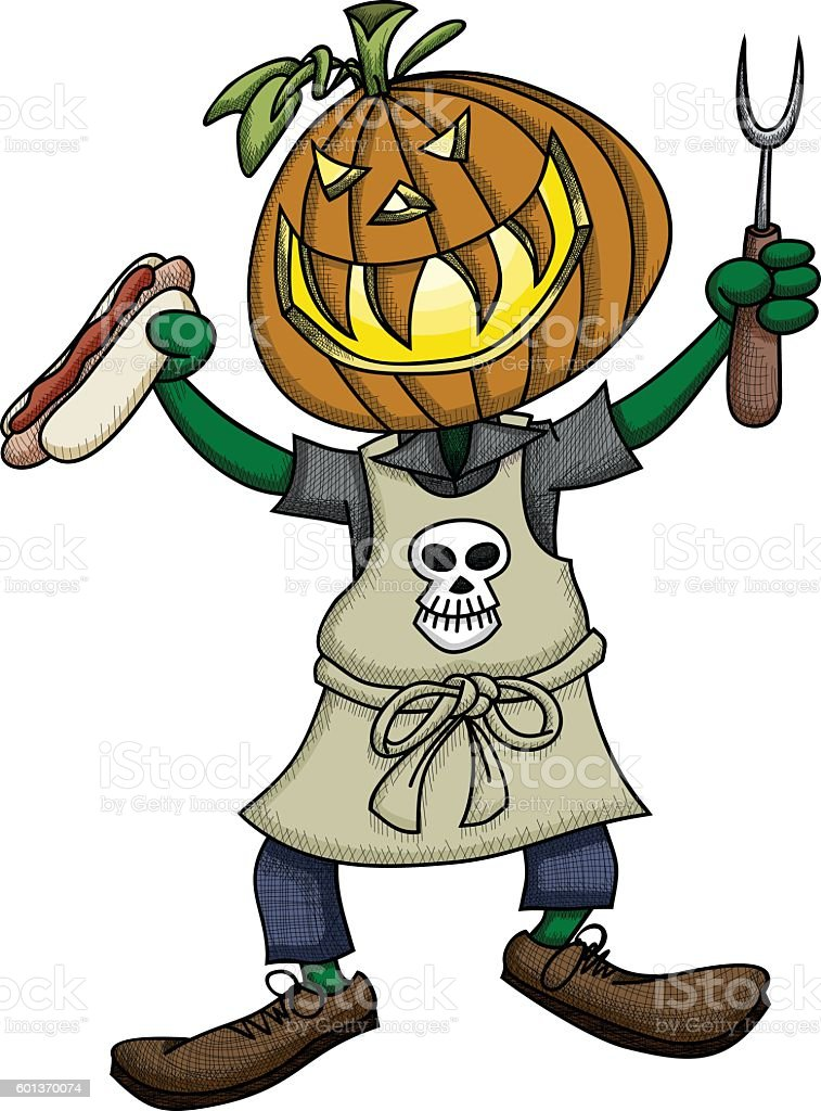 Pumpkin Head Grilling royalty-free pumpkin head grilling stock vector art & more images of apron