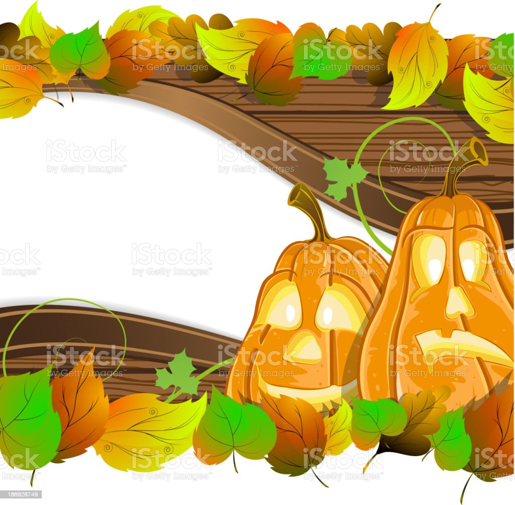 Pumpkin heads on wooden  background royalty-free pumpkin heads on wooden background stock vector art & more images of abstract
