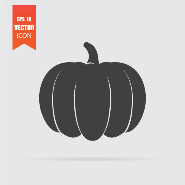 pumpkin icon in flat style isolated on grey background. - pumpkin stock illustrations