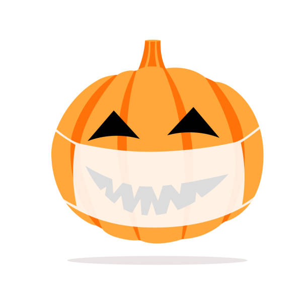 Pumpkin in a protective medical mask. Celebrating Halloween during quarantine. Vector image with a pumpkin, a protective mask, from infection with COVID-19. halloween covid stock illustrations