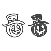istock Pumpkin in hat line and solid icon, Halloween concept, Creepy pumpkin sign on white background, funny scared face in hat icon in outline style for mobile concept and web design. Vector graphics. 1279735110
