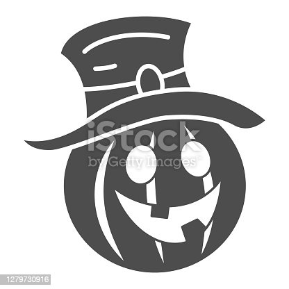 istock Pumpkin in hat solid icon, Halloween concept, Creepy pumpkin sign on white background, funny scared face in hat icon in glyph style for mobile concept and web design. Vector graphics. 1279730916