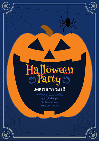 Pumpkin Jack smiling on blue BG halloween illustration
