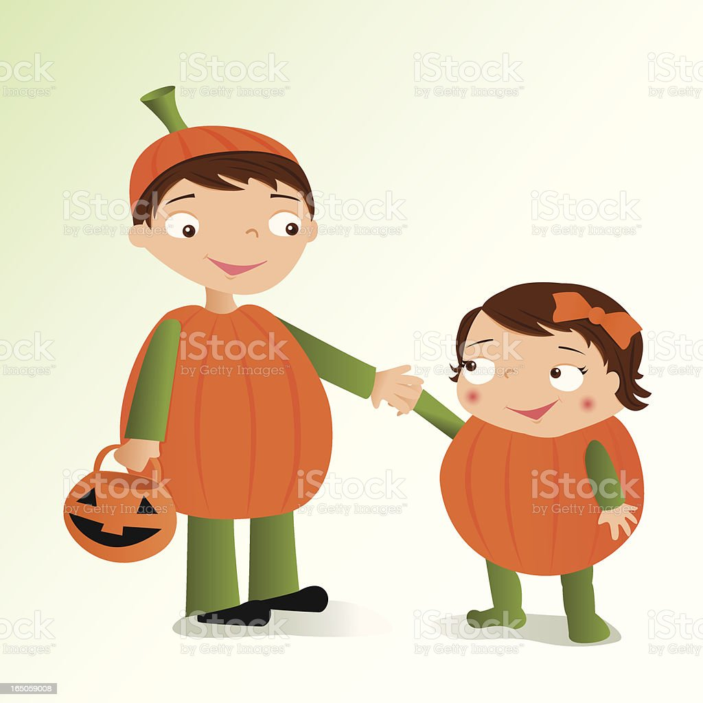 Pumpkin Kids royalty-free stock vector art