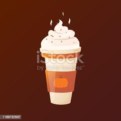 Simple shaped autumn drink. Vector design element.