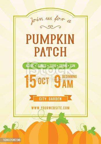 Pumpkin patch invitation flyer vector illustration, vintage frame with pumpkins.