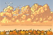 Pumpkin patch has a nice Fall look, with a patch of ground covered with every color, shape, and size of pumpkin.  The clouds are fluffy and filling the sky.  A flock of birds can be seen flying away.  This will be useful as a card, and as clip-art.