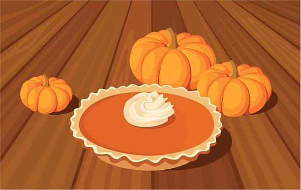 pumpkin pie and orange pumpkins. vector illustration. - pumpkin pie 幅插畫檔、美工圖案、卡通及圖標