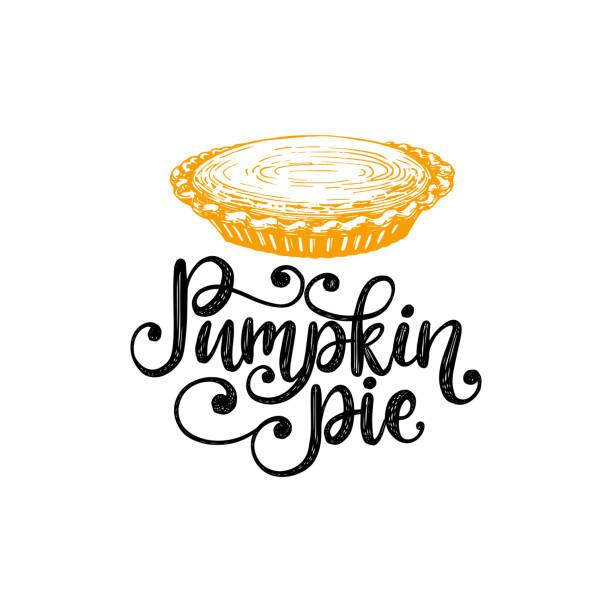 南瓜派, 手工刻字。向量插圖與蛋糕的感恩節請柬, 賀卡範本。 - pumpkin pie 幅插畫檔、美工圖案、卡通及圖標