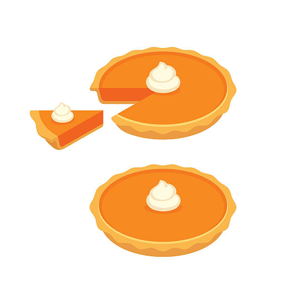 Pumpkin pie illustration. Pumpkin or sweet potato pie, whole and slice. Traditional American Thanksgiving dessert. Vector illustration. pastry dough stock illustrations