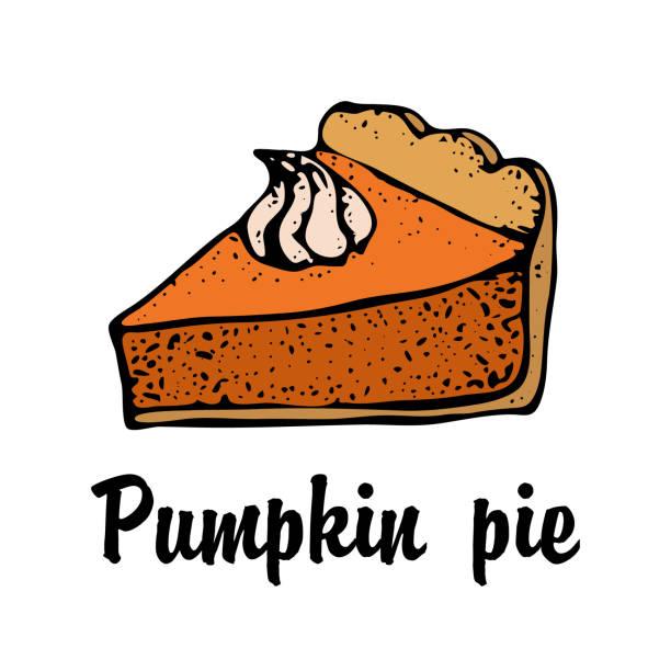 帶奶油的南瓜餡餅在白色背景下被隔離。手工繪製的餡餅片草圖。感恩節向量插圖。用於標識餐廳、包裝、功能表設計 - pumpkin pie 幅插畫檔、美工圖案、卡通及圖標